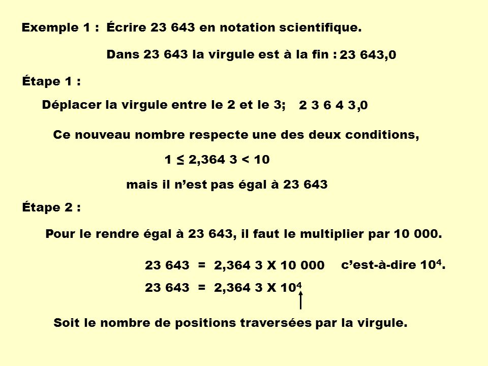 Exemple 1 : Écrire 23 643 en notation scientifique.