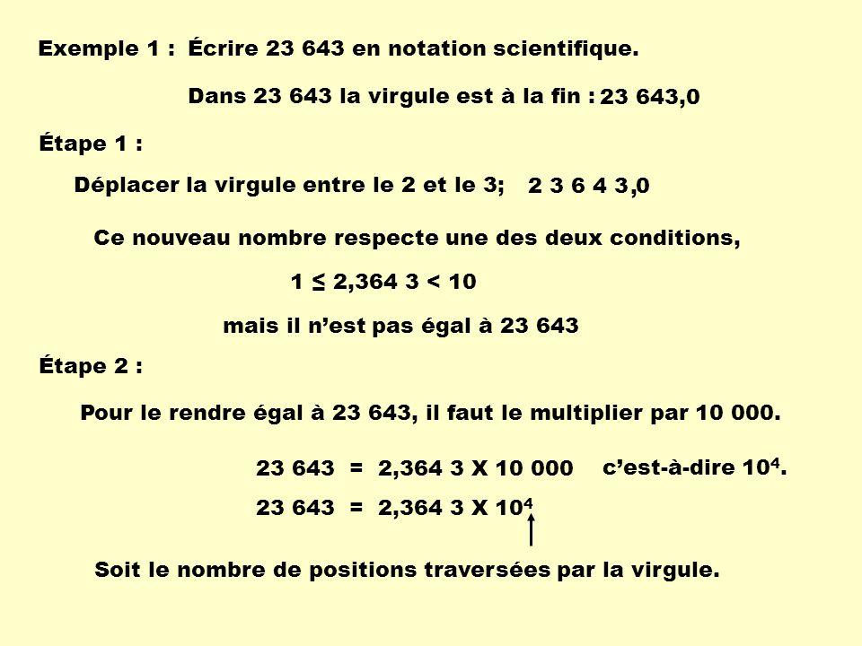 Calcule les quantités suivantes : 2,3 X 10 7 X 5,6 X 10 2 =1,288 X 10 10 1,7 X 10 4 X -2,3 X 10 5 =-3,91 X 10 9 4,81 X 10 5 X 3,4 X 10 6 = 1,6354 X 10 12 Attention La loi concernant la multiplication et la division de nombres positifs et négatifs sapplique aussi en notation scientifique.