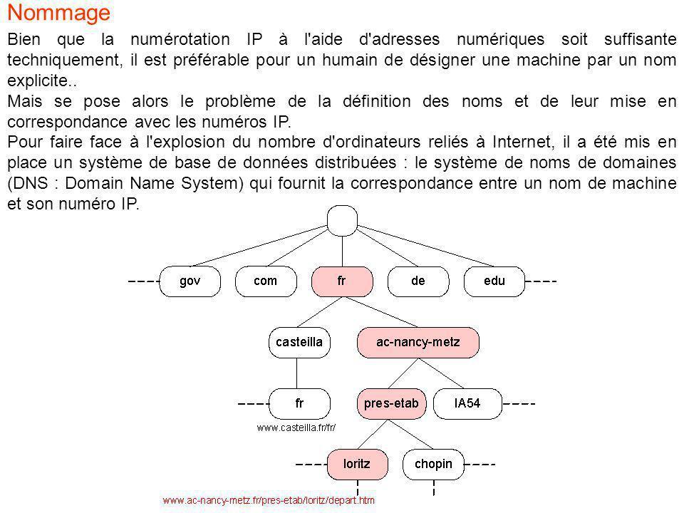 Bien que la numérotation IP à l aide d adresses numériques soit suffisante techniquement, il est préférable pour un humain de désigner une machine par un nom explicite..