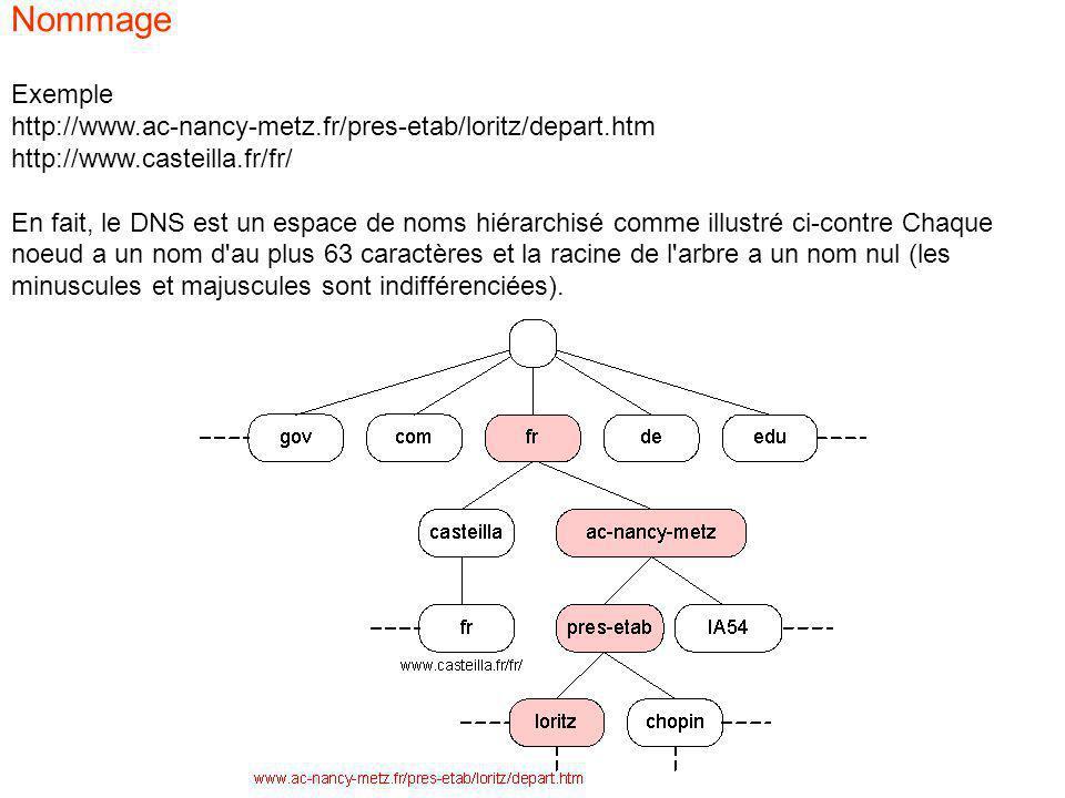 Exemple http://www.ac-nancy-metz.fr/pres-etab/loritz/depart.htm http://www.casteilla.fr/fr/ En fait, le DNS est un espace de noms hiérarchisé comme illustré ci-contre Chaque noeud a un nom d au plus 63 caractères et la racine de l arbre a un nom nul (les minuscules et majuscules sont indifférenciées).