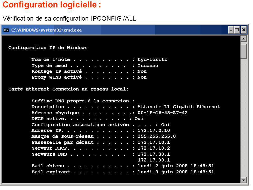 Vérification de sa configuration IPCONFIG /ALL Configuration logicielle : Configuration IP de Windows Nom de l hôte..........