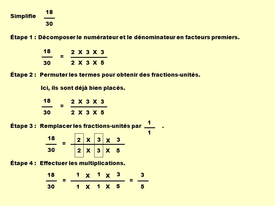 Étape 1 : Décomposer le numérateur et le dénominateur en facteurs premiers.