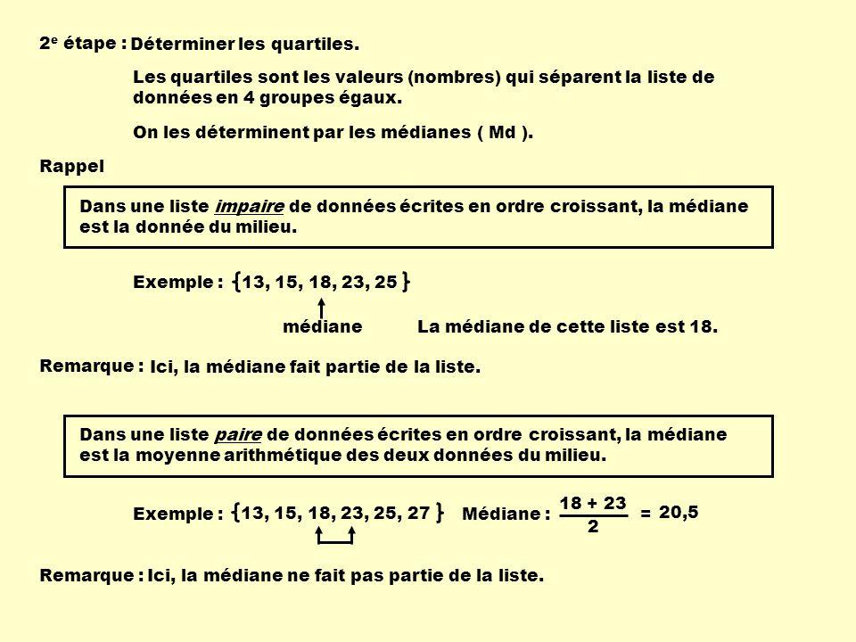 2 e étape : Déterminer les quartiles. Les quartiles sont les valeurs (nombres) qui séparent la liste de données en 4 groupes égaux. On les déterminent