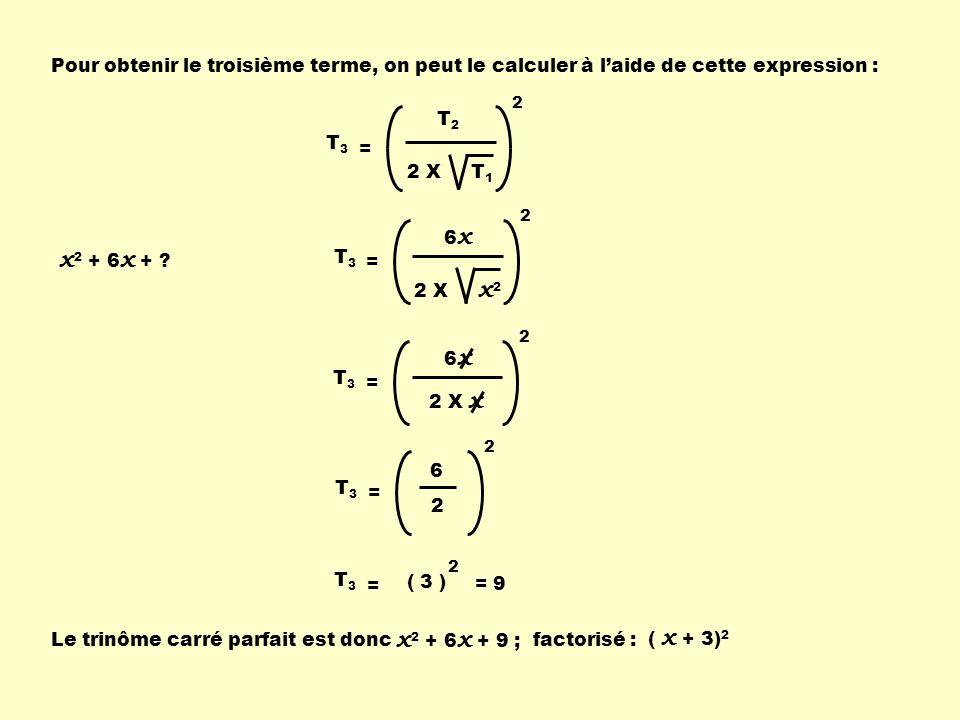 Pour obtenir le troisième terme, on peut le calculer à laide de cette expression : T2T2 2 X T 1 2 T 3 = x 2 + 6 x + ? 6x6x 2 X x 2 2 T 3 = 6x6x 2 X x