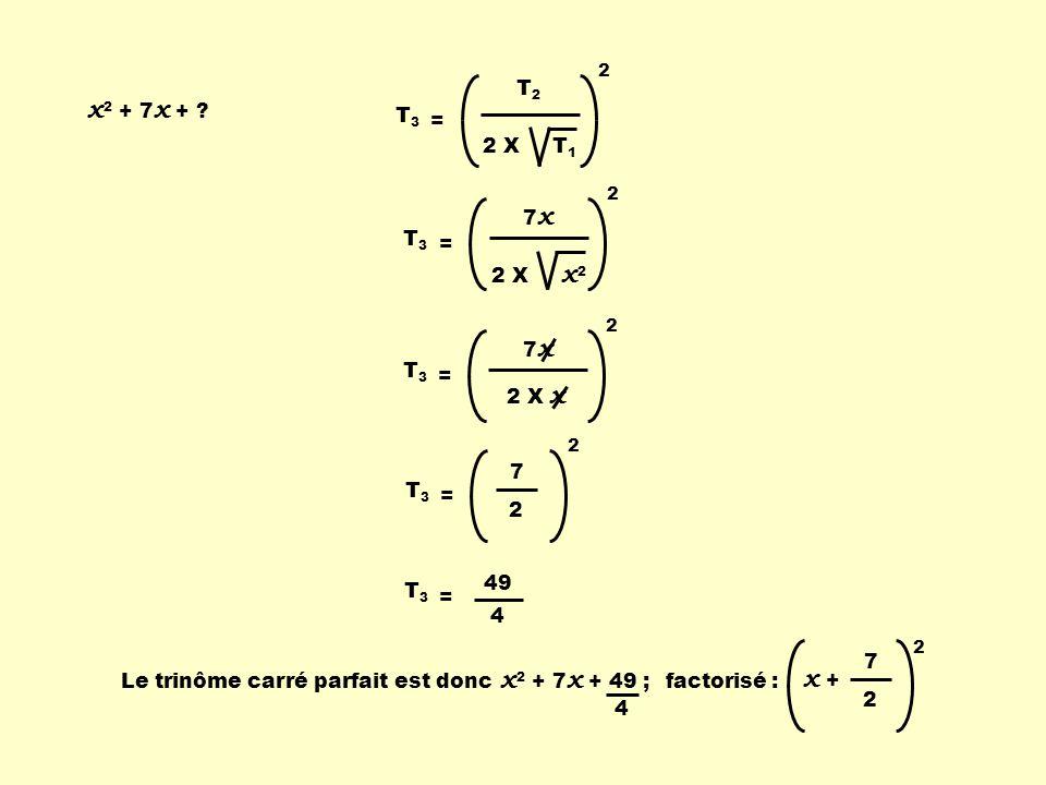 x 2 + 7 x + ? T2T2 2 X T 1 2 T 3 = 7 x 2 X x 2 2 T 3 = 7 x 2 X x 2 T 3 = 7 2 2 = Le trinôme carré parfait est doncfactorisé : T 3 = 49 4 x 2 + 7 x + 4
