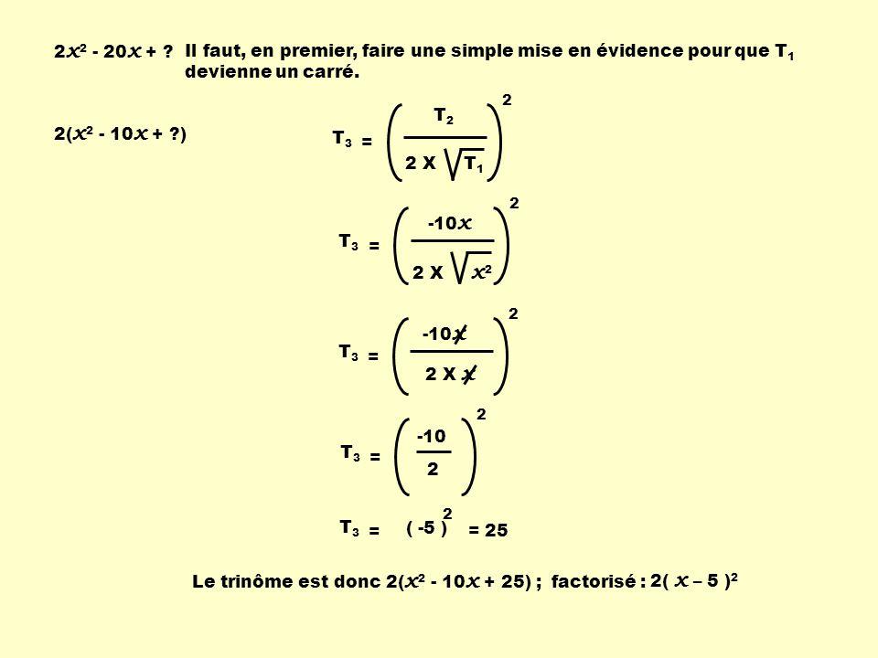 2 x 2 - 20 x + ? T2T2 2 X T 1 2 T 3 = -10 x 2 X x 2 2 T 3 = -10 x 2 X x 2 T 3 = -10 2 2 T 3 = 2 = ( -5 ) = 25 Le trinôme est donc 2( x 2 - 10 x + 25)