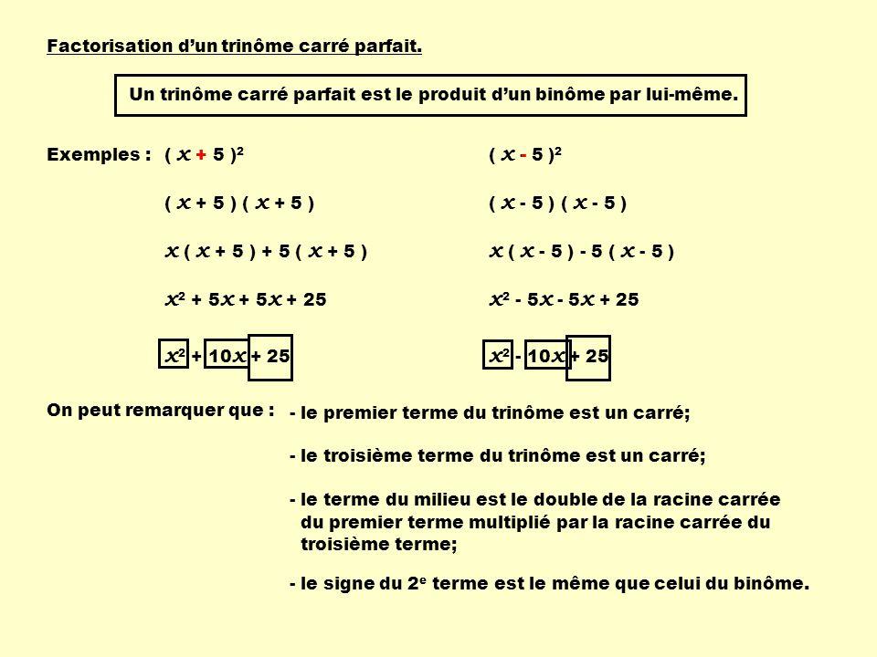 Factorisation dun trinôme carré parfait. Un trinôme carré parfait est le produit dun binôme par lui-même. Exemples : ( x + 5 ) 2 ( x + 5 ) x ( x + 5 )