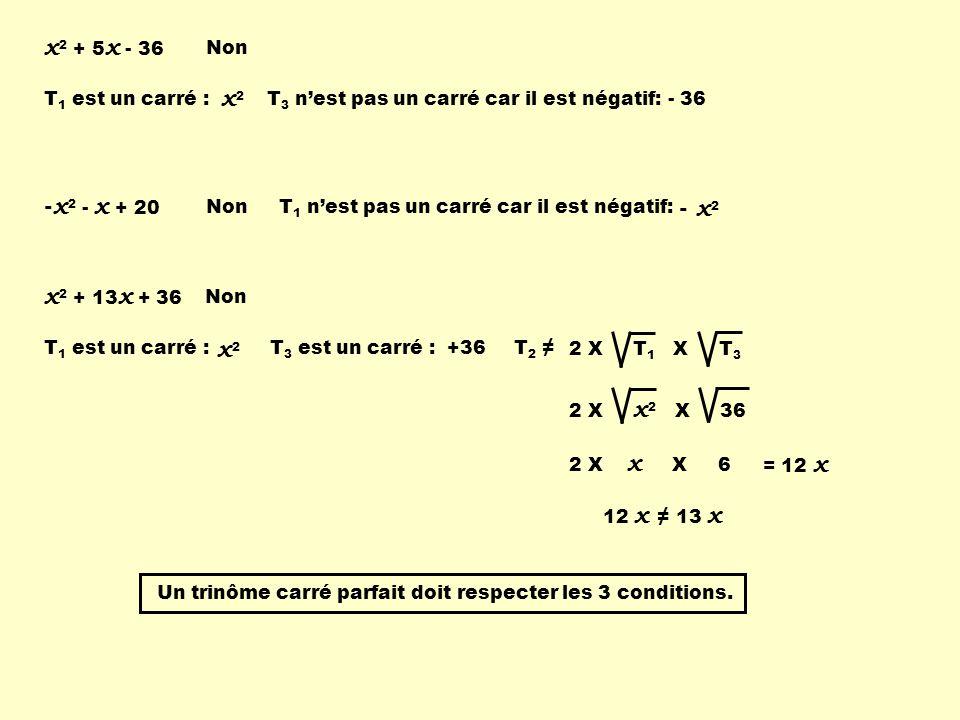2 x 2 - 28 x + 98 Non, T 1 est un carré :T 3 est un carré : x2x2 + 49 2 X T 1 X T 3 2 X x 2 X 49 2 X x X 7 = 14 x T 2 = En faisant un simple mise en évidence, on obtient : 2 ( x 2 - 14 x + 49 ) Remarque :La simple mise en évidence est la première étape dune factorisation lorsquun même facteur se retrouve dans tous les termes dun polynôme.