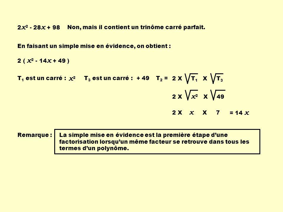 Factoriser un trinôme carré parfait Pour factoriser un trinôme carré parfait, il faut dabord vérifier si le trinôme en est un en lanalysant avec les 3 conditions : T 1 est-il un carréT 3 est-il un carré.