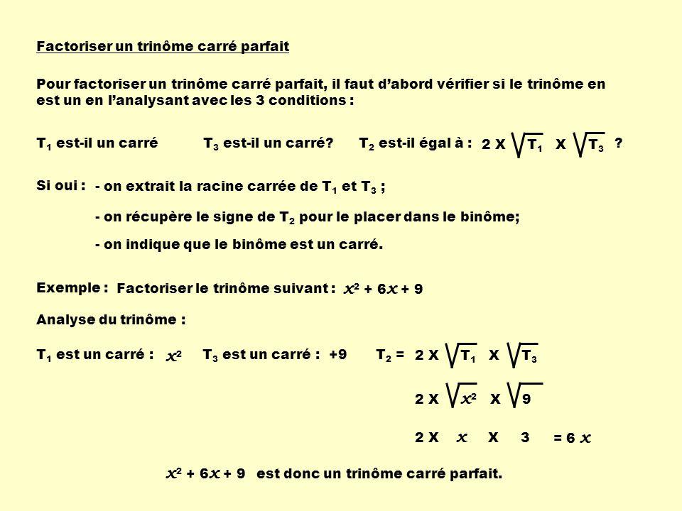 Factoriser un trinôme carré parfait Pour factoriser un trinôme carré parfait, il faut dabord vérifier si le trinôme en est un en lanalysant avec les 3