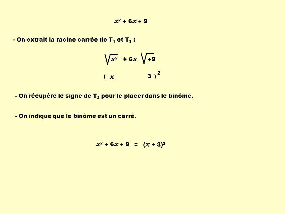 x 2 + 6 x + 9 - On extrait la racine carrée de T 1 et T 3 : - On récupère le signe de T 2 pour le placer dans le binôme. - On indique que le binôme es
