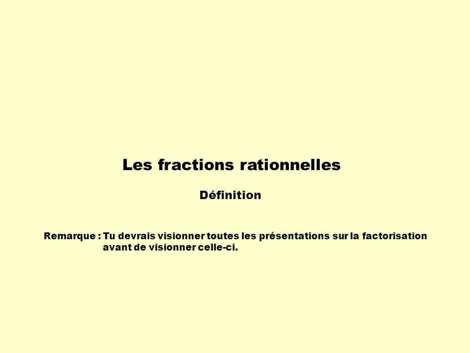 Remarque :Tu devrais visionner toutes les présentations sur la factorisation avant de visionner celle-ci. Les fractions rationnelles Définition