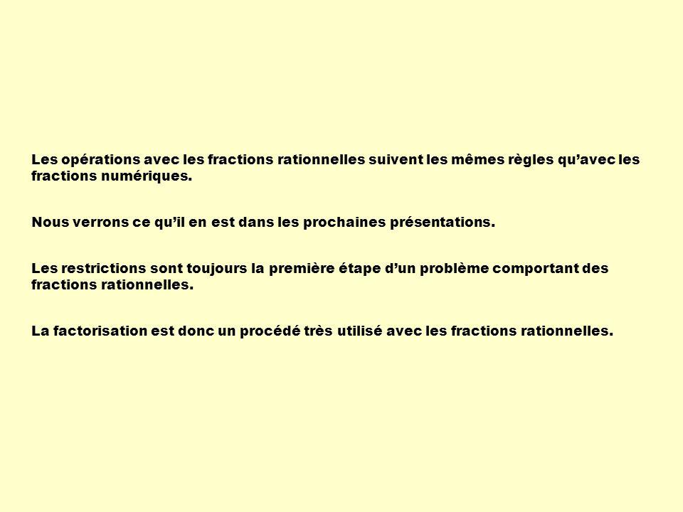 Les opérations avec les fractions rationnelles suivent les mêmes règles quavec les fractions numériques. Les restrictions sont toujours la première ét