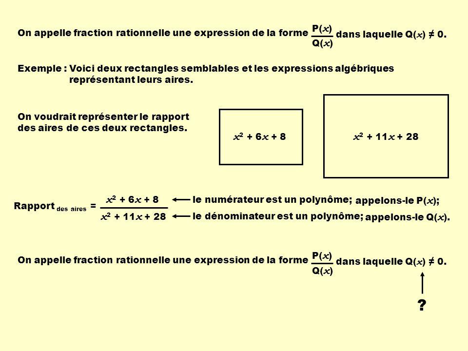 Exemple : x 2 + 6 x + 8 x 2 + 11 x + 28 Voici deux rectangles semblables et les expressions algébriques représentant leurs aires. On voudrait représen