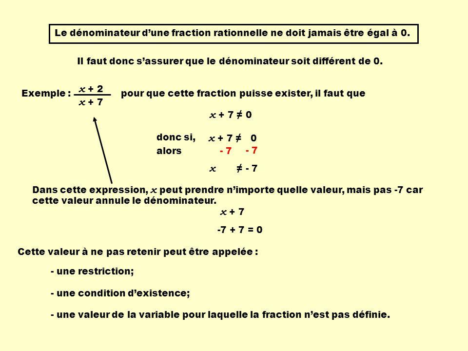 Déterminer une restriction Pour déterminer les restrictions à donner à une fraction rationnelle, il faut : - factoriser le dénominateur, sil y a lieu; - déterminer la valeur de la variable qui annule le polynôme dans chaque facteur; - éliminer cette (ces) valeur(s).