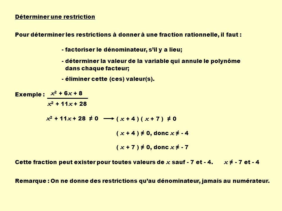 Déterminer une restriction Pour déterminer les restrictions à donner à une fraction rationnelle, il faut : - factoriser le dénominateur, sil y a lieu;