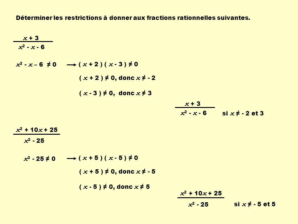 Déterminer les restrictions à donner aux fractions rationnelles suivantes. x + 3 x 2 - x - 6 x 2 - x – 6 0 ( x + 2 ) ( x - 3 ) 0 ( x + 2 ) 0, donc x -