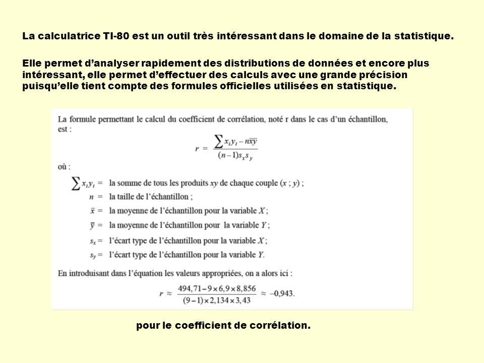 ATTENTION LINREG(ax+b) y= ax+b a=.5684454756 b= 18.39211137 r =.0673669204 La calculatrice donnera toujours une équation pour la droite de régression même si le coefficient de corrélation est très près de 0.