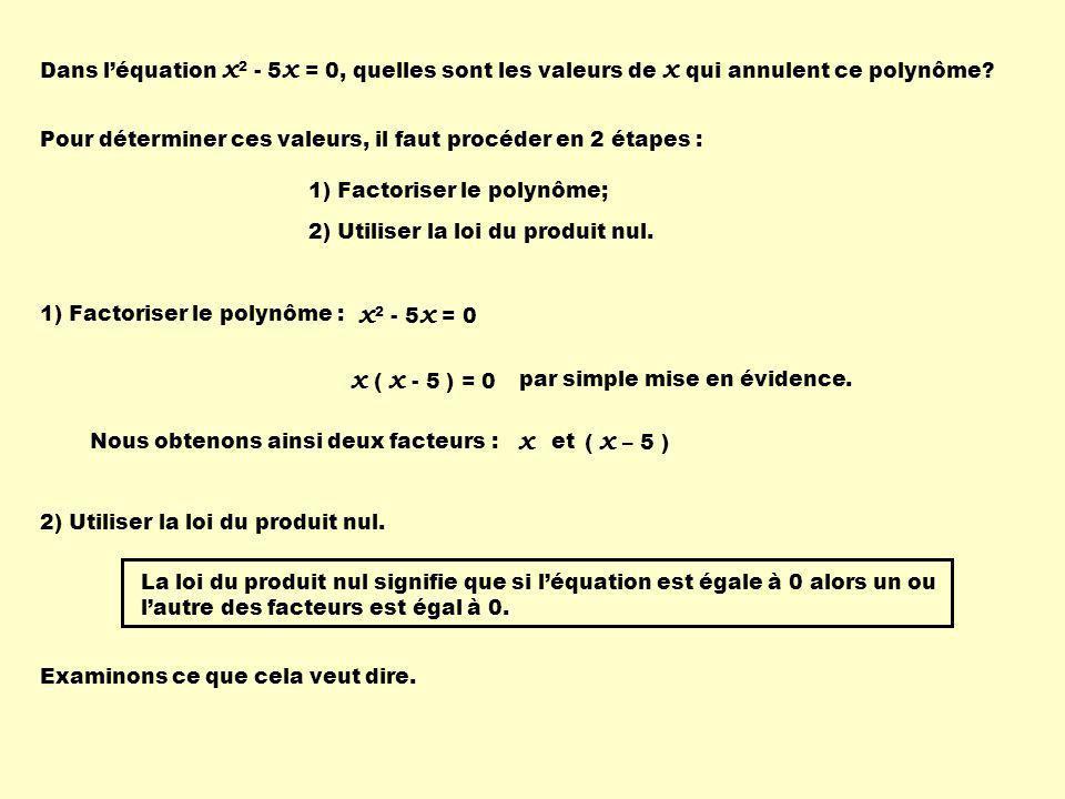 Dans léquation x 2 - 5 x = 0, quelles sont les valeurs de x qui annulent ce polynôme.
