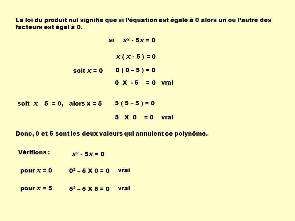 1) On factorise le polynôme; 2) On utilise la loi du produit nul en isolant la (les) variable(s) dans chacun des facteurs.