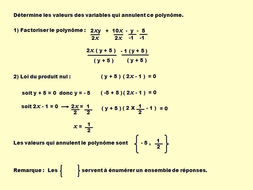 - 1 ( ) Détermine les valeurs des variables qui annulent ce polynôme.