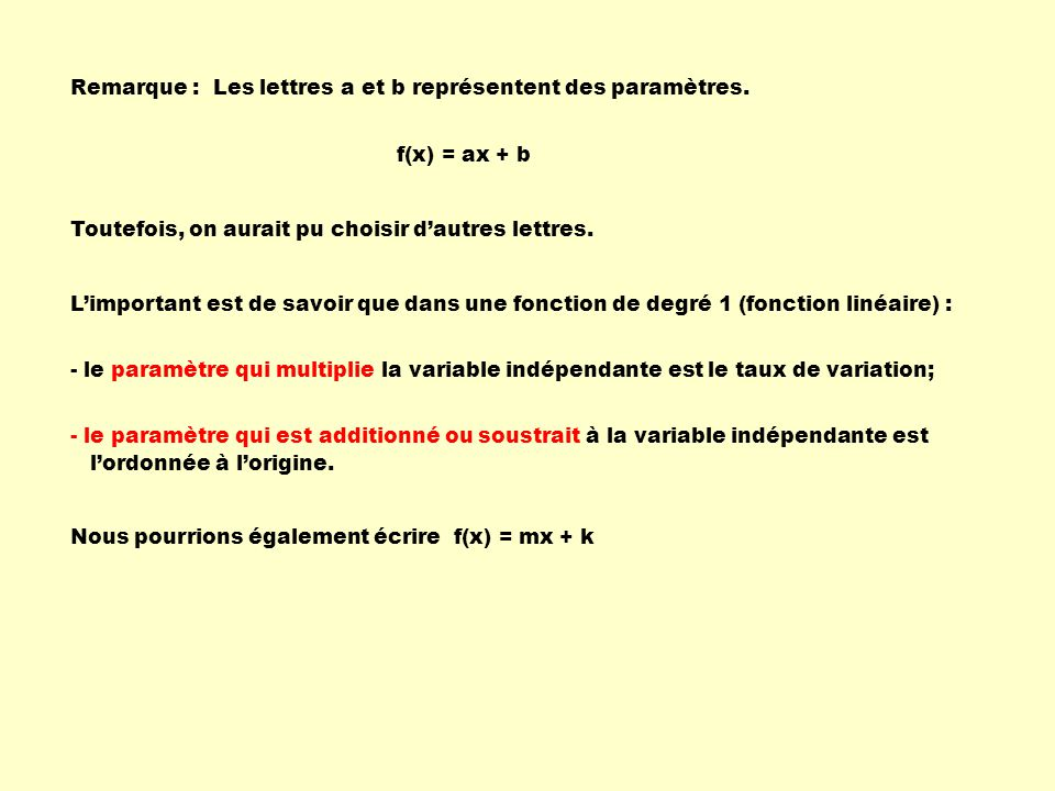Remarque :Les lettres a et b représentent des paramètres. f(x) = ax + b Toutefois, on aurait pu choisir dautres lettres. Limportant est de savoir que