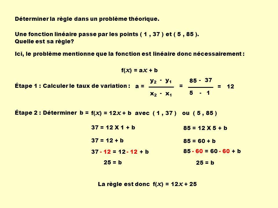 85 = 60 + b 37 = 12 + b- 12 Déterminer la règle dans un problème théorique. Une fonction linéaire passe par les points ( 1, 37 ) et ( 5, 85 ). Quelle