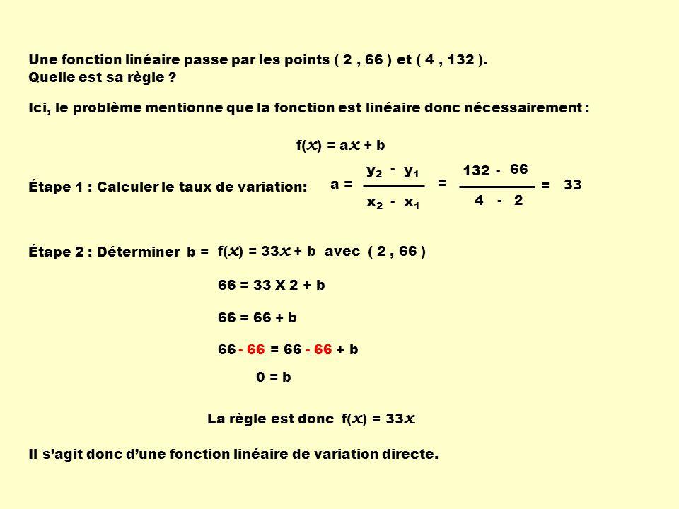 66 = 66 + b Une fonction linéaire passe par les points ( 2, 66 ) et ( 4, 132 ). Quelle est sa règle ? Ici, le problème mentionne que la fonction est l