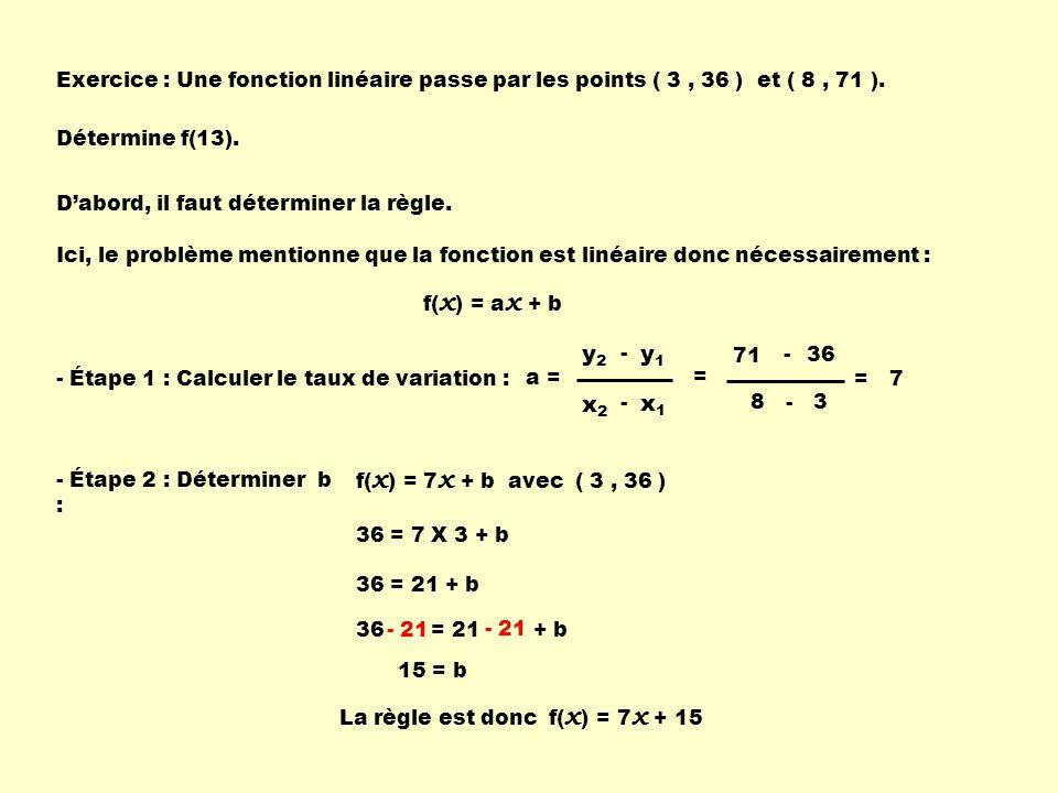36 = 21 + b Exercice : Une fonction linéaire passe par les points ( 3, 36 ) et ( 8, 71 ). Détermine f(13). Ici, le problème mentionne que la fonction