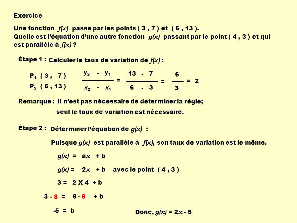 Exercice Une fonction f(x) passe par les points ( 3, 7 ) et ( 6, 13 ). Quelle est léquation dune autre fonction g(x) passant par le point ( 4, 3 ) et