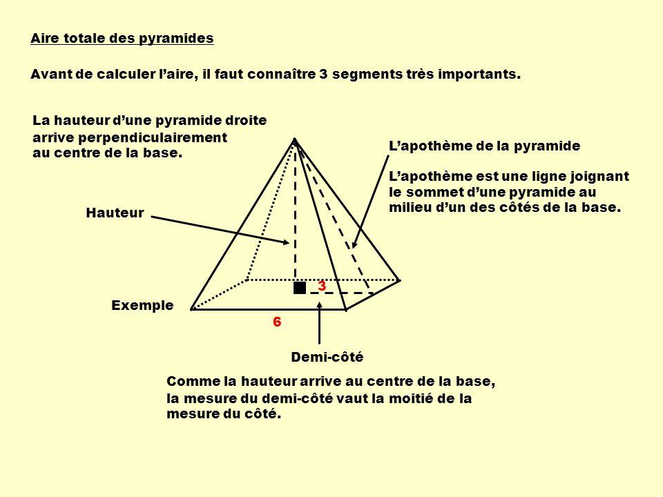 Aire totale des pyramides Avant de calculer laire, il faut connaître 3 segments très importants. Hauteur La hauteur dune pyramide droite arrive perpen