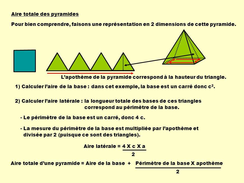 Aire totale des pyramides 1) Calculer laire de la base :dans cet exemple, la base est un carré donc c 2. 2) Calculer laire latérale : - Le périmètre d