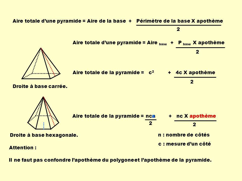 Aire totale dune pyramide = Aire de la base + Périmètre de la base X apothème 2 Droite à base hexagonale. Aire totale dune pyramide = Aire base + P ba