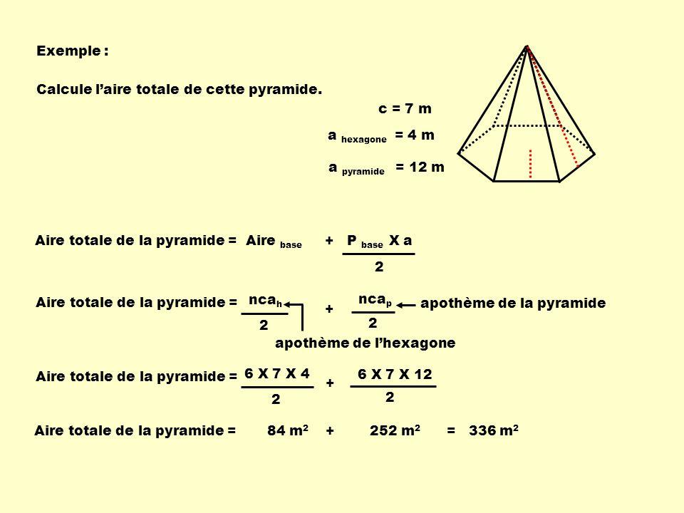 Exemple : Aire totale de la pyramide = Aire base + P base X a 2 Calcule laire totale de cette pyramide. c = 7 m a hexagone = 4 m a pyramide = 12 m 2 n