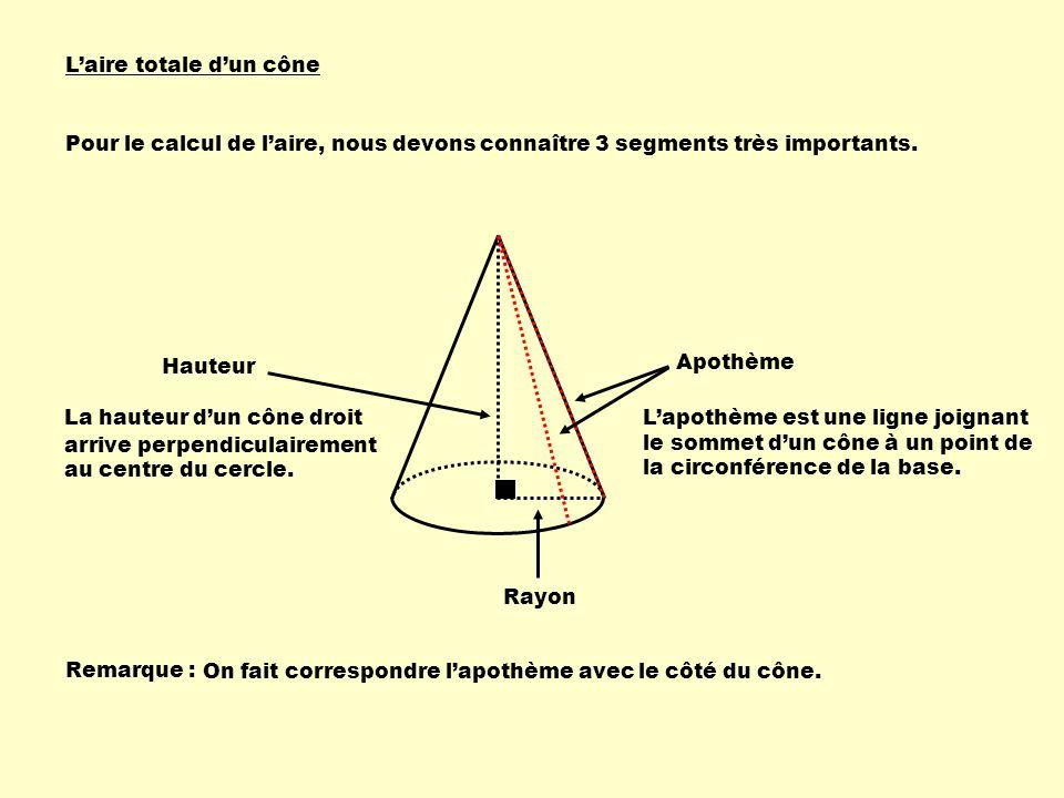 Pour le calcul de laire, nous devons connaître 3 segments très importants. Hauteur La hauteur dun cône droit arrive perpendiculairement au centre du c