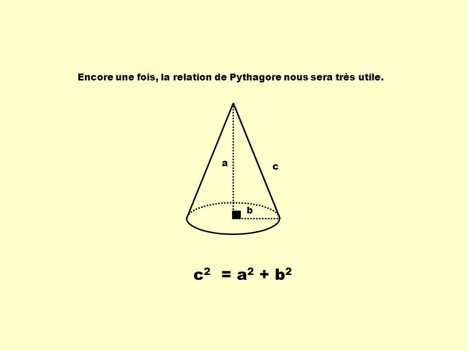 Encore une fois, la relation de Pythagore nous sera très utile. a b c c 2 = a 2 + b 2