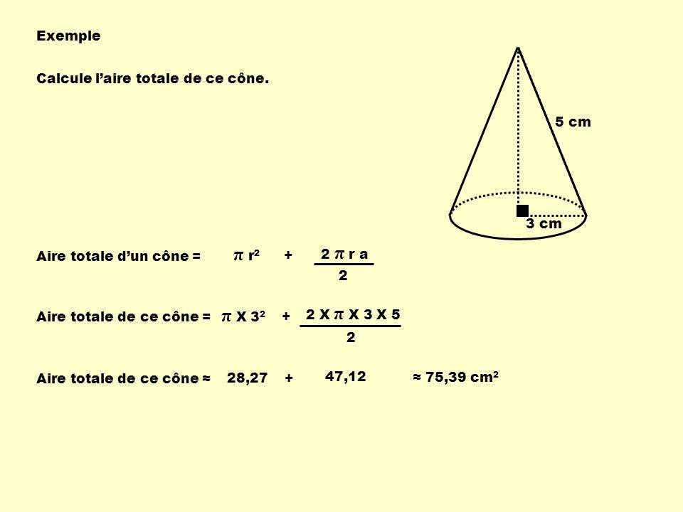 Exemple 3 cm 5 cm Calcule laire totale de ce cône. Aire totale dun cône = π r 2 + 2 π r a 2 Aire totale de ce cône = π X 3 2 + 2 X π X 3 X 5 2 Aire to