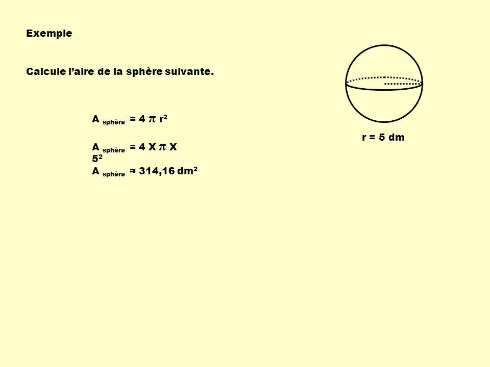 Exemple Calcule laire de la sphère suivante. r = 5 dm A sphère = 4 π r 2 A sphère = 4 X π X 5 2 A sphère 314,16 dm 2