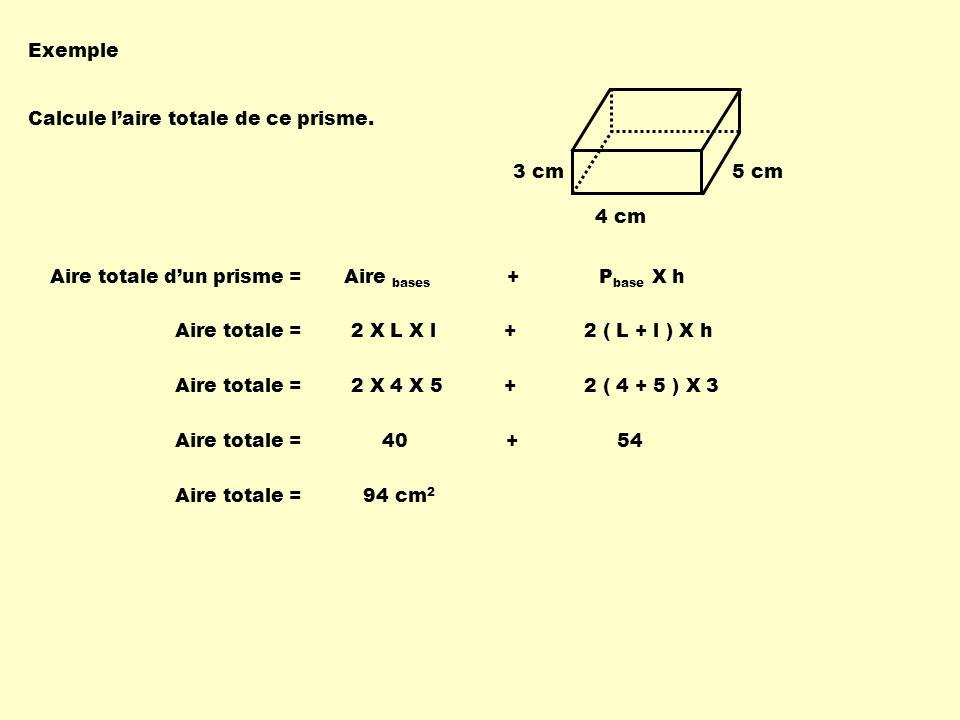 Exemple Calcule laire totale de ce prisme. 4 cm 5 cm3 cm Aire totale dun prisme = Aire bases + P base X h Aire totale = 2 X L X l + 2 ( L + l ) X h Ai