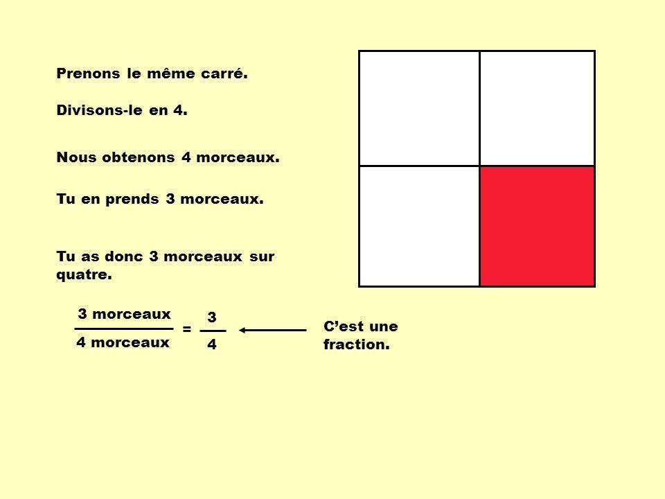 Prenons le même carré. Divisons-le en 4. Nous obtenons 4 morceaux. Tu en prends 3 morceaux. Tu as donc 3 morceaux sur quatre. 3 morceaux 4 morceaux =