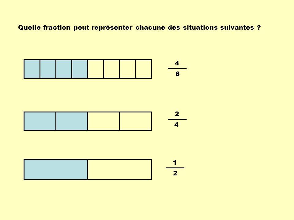 4 8 2 4 1 2 Quelle fraction peut représenter chacune des situations suivantes ?