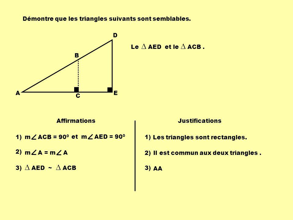 A B C D E Le AED et le ACB. Affirmations Justifications 1) m ACB = 90 0 Les triangles sont rectangles. 1) m AED = 90 0 Il est commun aux deux triangle