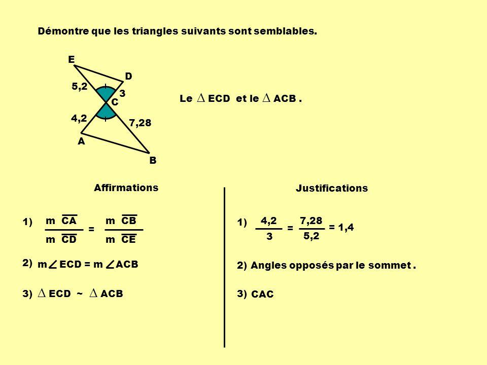 E D C A B 5,2 4,2 3 7,28 Le ECD et le ACB. Affirmations Justifications Angles opposés par le sommet.2) m ECD = m ACB 3) ECD ~ ACB 3) CAC1) m CA m CD =