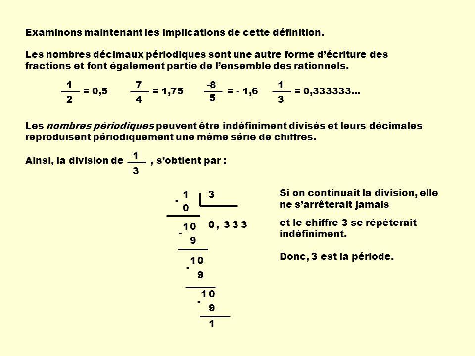 Examinons maintenant les implications de cette définition. Les nombres décimaux périodiques sont une autre forme décriture des fractions et font égale