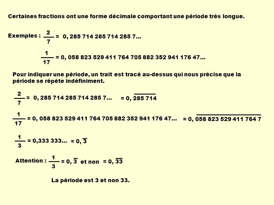 Certaines fractions ont une forme décimale comportant une période très longue. Exemples : 2 7 = 0, 285 714 285 714 285 7… 1 17 = 0, 058 823 529 411 76
