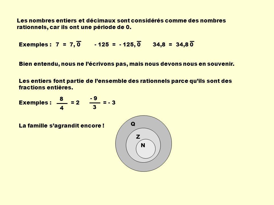 Les nombres entiers et décimaux sont considérés comme des nombres rationnels, car ils ont une période de 0. Exemples : Bien entendu, nous ne lécrivons
