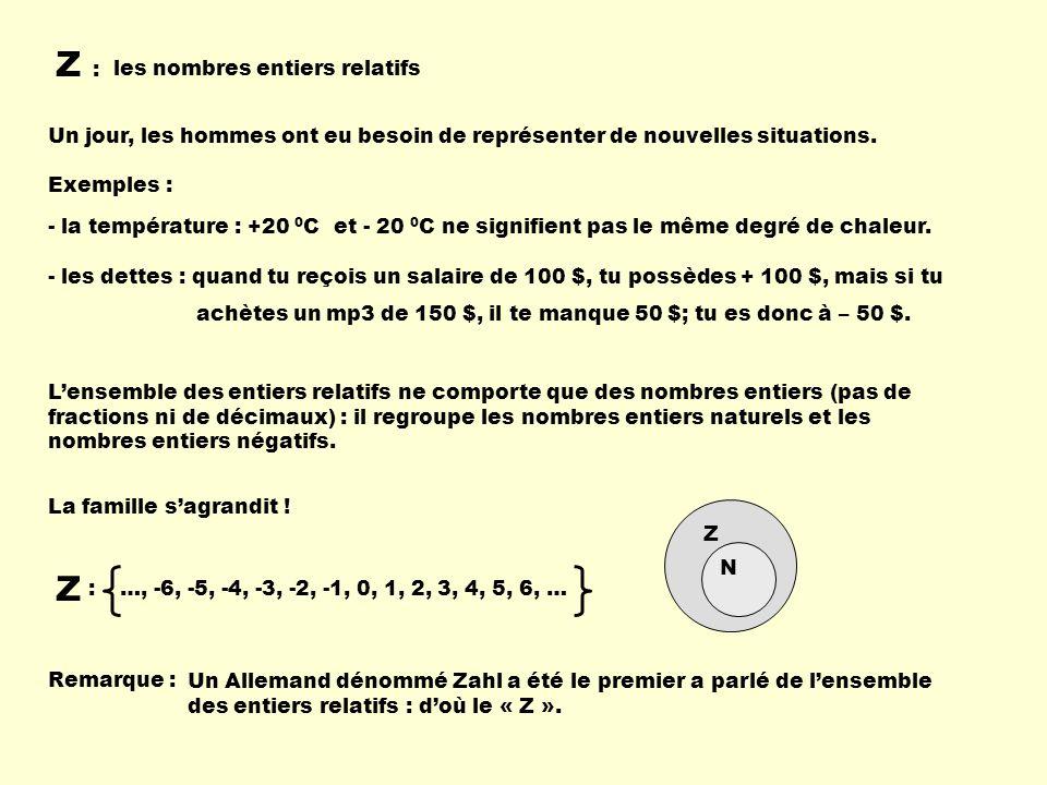 Z : les nombres entiers relatifs Un jour, les hommes ont eu besoin de représenter de nouvelles situations. - la température : +20 0 C et - 20 0 C ne s