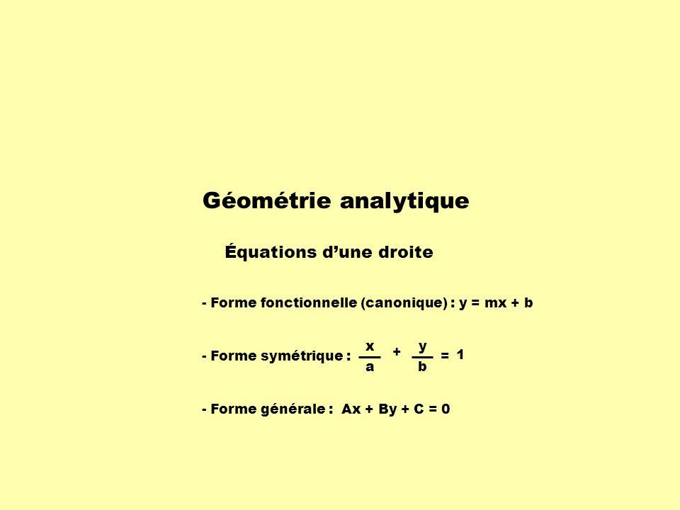 Géométrie analytique Équations dune droite - Forme fonctionnelle (canonique) : y = mx + b - Forme symétrique : x a + y = 1 b - Forme générale : Ax + By + C = 0