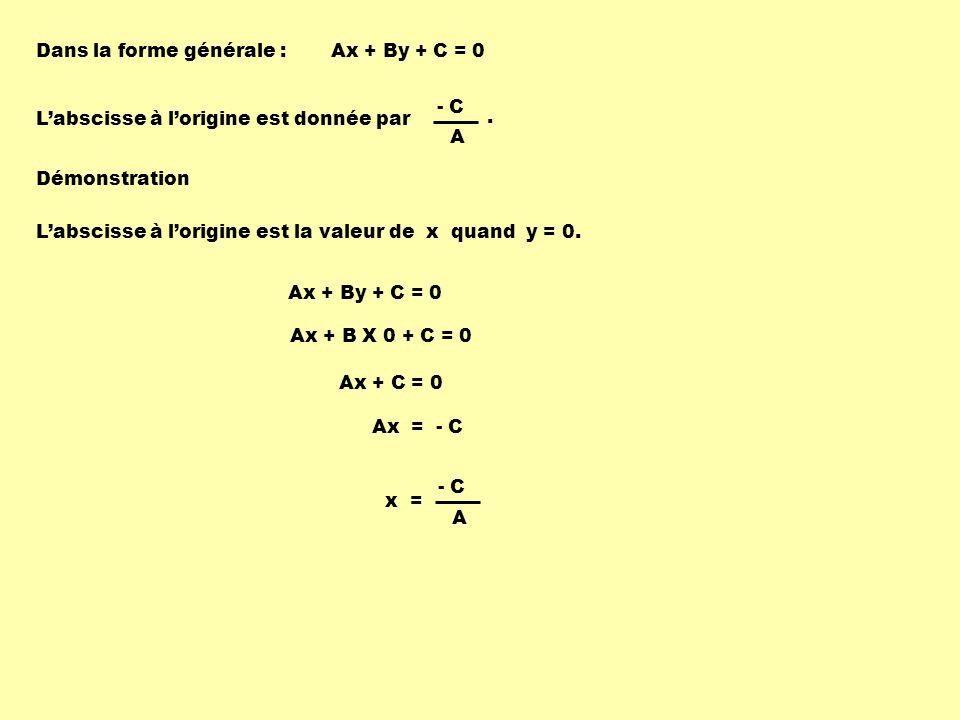 Dans la forme générale : Labscisse à lorigine est donnée par Ax + By + C = 0 Démonstration Labscisse à lorigine est la valeur de x quand y = 0.