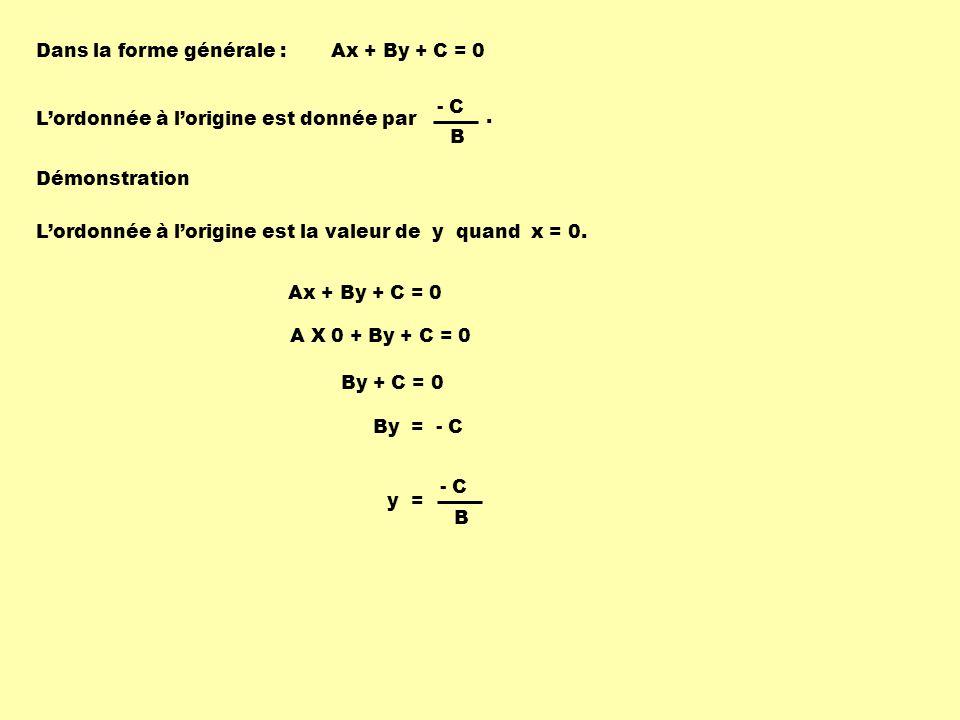 Dans la forme générale : Lordonnée à lorigine est donnée par Ax + By + C = 0 Démonstration Lordonnée à lorigine est la valeur de y quand x = 0.